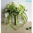 Mariée de chrysanthème de soie vert et blanc match ball tenant des fleurs
