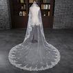 Voile de mariage Blanc Traîne Longue Automne Vintage Sans Peigne Fleurs