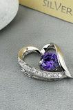 violet en forme de coeur argent diamant incrusté bijoux femme collier