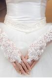 Gant de mariage Appliques Plage Blanc Printemps Sans doigt Mince