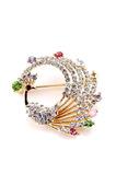 Incrusté de diamants coloré alliage paon broche