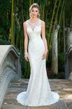 Robe de mariée Dos nu Fourreau Traîne Mi-longue Chic Taille Naturel