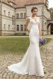 Robe de mariée Tissu Dentelle Col en V Longue Sirène Printemps Taille Naturel
