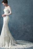 Robe de mariée Sirène Manche Longue Longue Automne Zip Tissu Dentelle