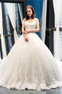 Robe de mariée Lacet A-ligne Tissu Dentelle Épaule Dégagée Formelle