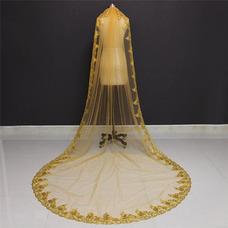 Voile de mariée paillettes d'or 3M dentelle voile de mariée paillette cathédrale