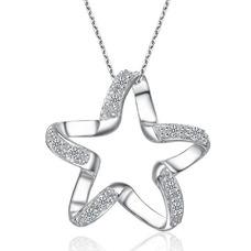 Clavicule femmes argent cinq branches étoile diamant incrusté collier