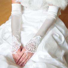 Gant de mariage Blanc Plage Printemps Appliques Épais Vintage
