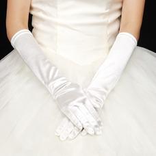 Gant de mariage Doigt complet Blanc Vintage Épais Eglise Longue