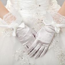 Gant de mariage Court Vintage Doigt complet Taffetas Nœud à Boucles