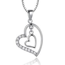 En forme de coeur femmes court incrusté de diamant collier en argent