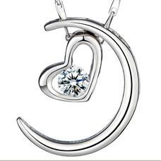 Vente en forme de coeur d'électrodéposition décoration chaude collier en argent