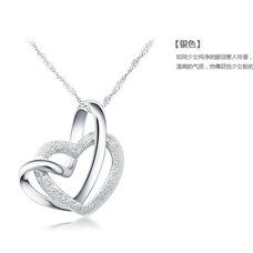 Simples femmes argentée Double cœur clavicule collier