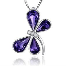 Libellule femmes violet Silver alimentation gros collier en cristal