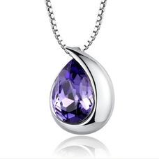 Mode en forme de coeur argent gros collier en cristal femmes