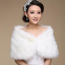 Châle de mariage Sans Manches Glamour Automne Blanc Chaud Épais