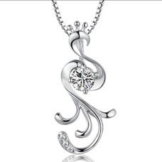 Diamant incrusté Collier argent femmes Fashion paon