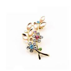 Vente chaude diamant incrusté femmes accessoires cristal Leaf Brooch