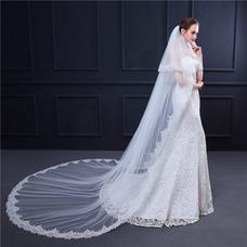 Voile de mariée avec brosse à cheveux voile de dentelle exquise queue longue voile