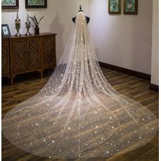 Voile étoilé de Champagne mariée super long voile de mariage