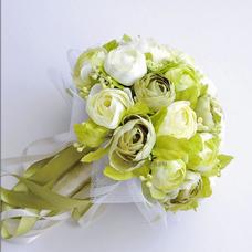 Camélia blanc vert coréenne mariée simulation fleurs pour mariage dans la main