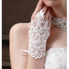 Gant de mariage Perle Tissu Dentelle Blanc Mitaine Colorful Décoration