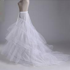 Jupon de mariage Fort réseau Trois jantes Trailing Longue Robe de mariée