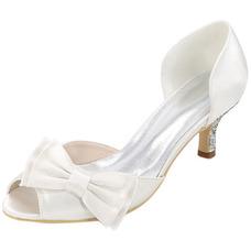 Chaussures de mariage, plus la taille des chaussures simples bow sandales de fête en satin