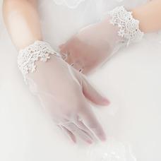 Gant de mariage Blanc Doigt complet Décoration Chic Approprié Dentelle