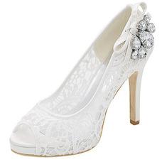 Talons en dentelle sexy chaussures à strass en dentelle à talons hauts