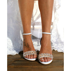 Sandales grandes tailles à talons épais, chaussures de mariage femme à talons hauts en satin et strass