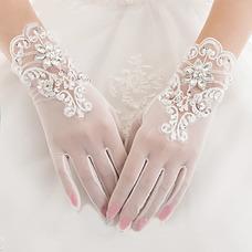 Gant de mariage Doigt complet Approprié Luxe Blanc Décoration Perle