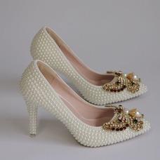 9CM perle noeud talons hauts talons aiguilles pointe chaussures de soirée