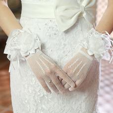 Gant de mariage Court Mince Automne Blanc Doigt complet Multifonctionnel