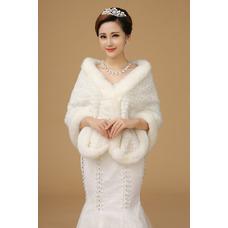 Châle de mariage Blanc Hiver Eglise Fourrure Épais Formelle
