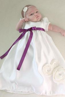 Robe cérémonie fille Princesse Manche de Ballon Manquant Orné de Nœud à Boucle