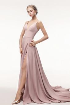 Robe de bal Sexy Sans Manches Longue Zip Taille Naturel Satin Élastique