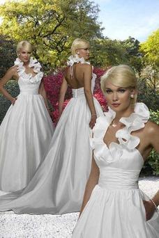 Robe de mariée Satin Printemps Licou A-ligne Zip Sans Manches