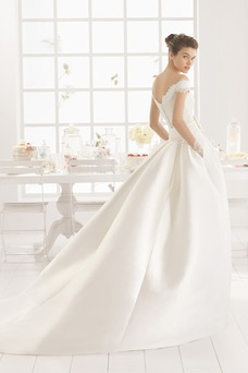 Robe de mariée Modeste Longue Taille Naturel Eglise Satin Appliques