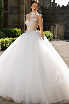 Robe de mariée Colorful Tulle Princesse Cristal Col haut Basque
