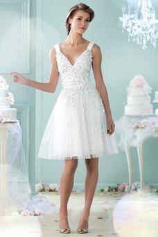 Robe de mariée Plage Longueur Genou Été A-ligne Milieu Col en V