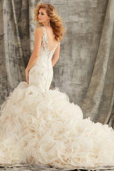 Robe de mariée Sirène Chic Salle Col en V Milieu Taille Naturel