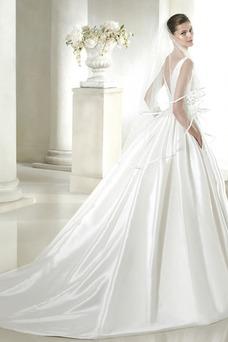 Robe de mariée Colorful Zip Avec voile A-ligne Salle Satin
