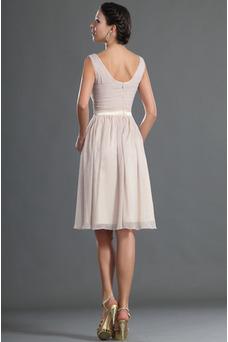 Robe de soirée Courte Balançoire Mousseline Simple Sans Manches Taille Naturel