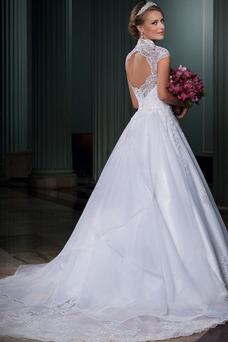 Robe de mariée Automne Classe Manche Courte Appliques Milieu Mancheron