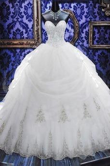 Robe de mariée Basque Col en Cœur Traîne Longue Lacet Tulle Eglise
