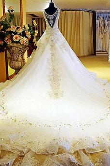 Robe de mariée Taille Naturel Printemps Col en V Gaze Mancheron Longue
