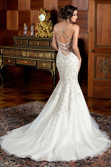 Robe de mariée De plein air Milieu Perle Organza Printemps Bretelles Spaghetti
