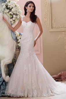 Robe de mariée Tissu Dentelle Col en Cœur Appliques Mancheron Taille Naturel