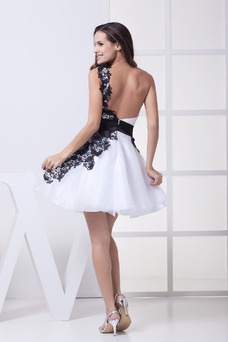 Robe de cocktail Informel Organza Sans Manches Taille Naturel Perle